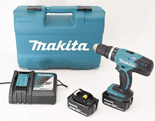 Makita DHP453RFX4 Trapano Avvitatore a Percussione con Valigetta, 74 Accessori, 2 Batterie 3 Ah Li-ion, 18 V