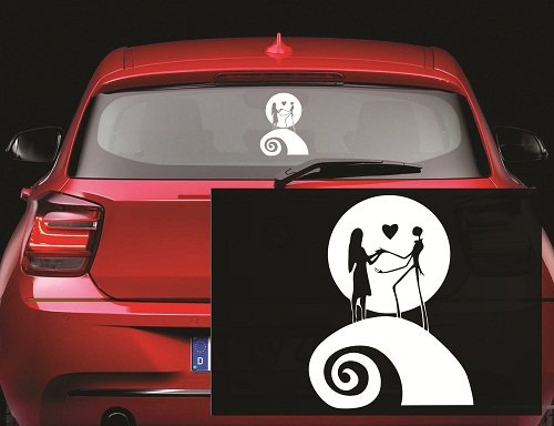 Jack and Sally Moon Nightmare Before Christmas Decal Sticker for Window Car Windows Truck Room (5.5' inches (White)