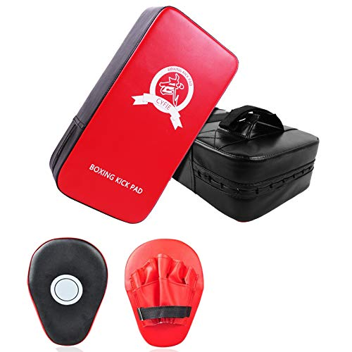 SEISSO Boxing Kick Pads Punching Mitts Curved, Sparring Pads,Leather Material Art Karate Pad Thai Hand Pad Focus Target Kickboxing Hand Targets for Kicking Shield Training,Sparring, Dojo (4 Pcs Set)
