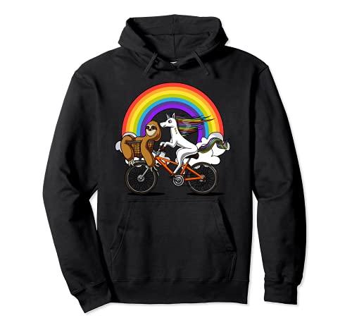 Perezoso Unicornio en Bicicleta Animal Divertido Arcoiris Sudadera con Capucha