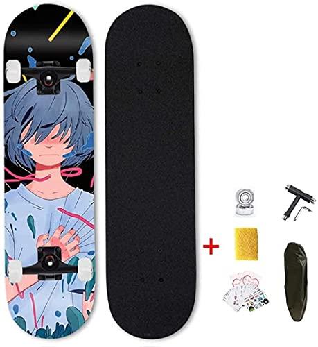 Tablero de monopatín Completo 31 Longboards Casterboards Anime Pattern 7 Capas de Arce canadienses Rodamientos de Bolas ABEC-7 Mini Cruiser Skate Double Kick para niños Principiantes