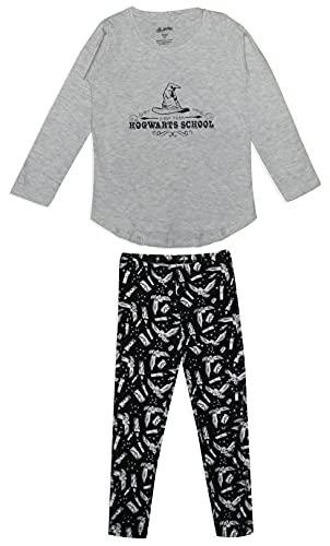 HARRY POTTER Hogwarts - Conjunto de Pijama de algodón para niña (10-11 años), Color Gris y Negro
