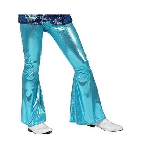 Atosa-13226 Atosa-13226-Costume-Deguisement Pantalon Disco Brillant Unisex, Adulte Unisexe, 13226, Bleu Ciel, M-L