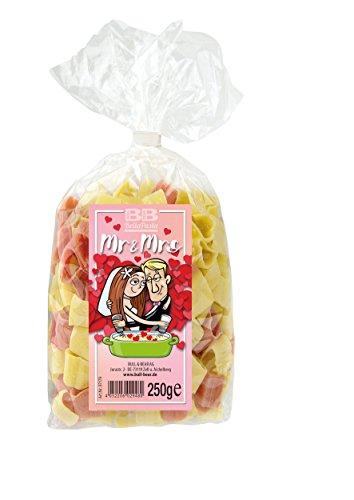 Pasta Mr. & Mrs. für Paare und Verliebte, bunte Hernudeln (250 g) aus deutscher Manufaktur
