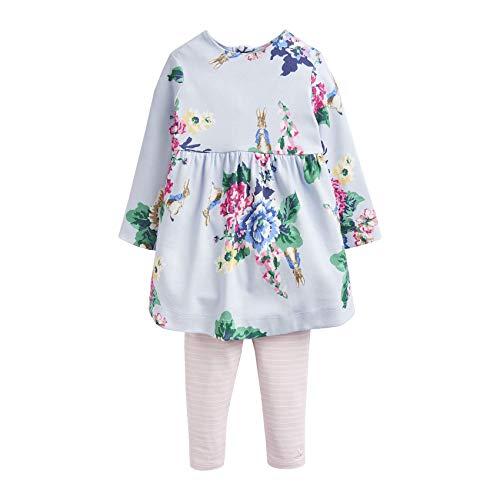 Joules Baby Christina Jersey Jurk met print & Leggings Set - Lichtblauw Konijn Fl