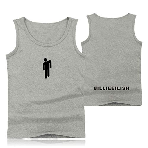 Preisvergleich Produktbild Siskey Billie Eilish Vest Shirt Tee Kurze Hülsen, Billie Eilish Weste Beiläufige Kurze Hülsen T-Shirts, Billie Eilish Printed Short Sleeve Tee Shirt for Music Fans-Grey, S