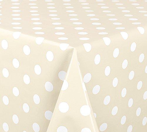 WACHSTUCH Tischdecken abwischbar Meterware, Größe wählbar, 260x140 cm, Glatt Punkte Weiß Creme Beige