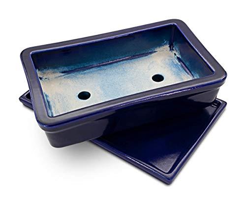 K&K Bonsaischale/Pflanzschale mit Unterschale, rechteckig, frostbeständig, blau, 29x18x7cm aus Steinzeug Keramik