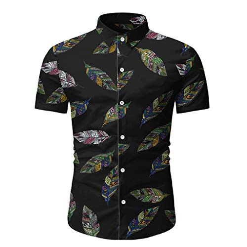 Yowablo Hawaii-Hemd für Herren Vintage Herrenbluse Hawaii bedrucktes Spleißmuster Casual Fashion Revers Kurzarmhemd (3XL,1Schwarz)