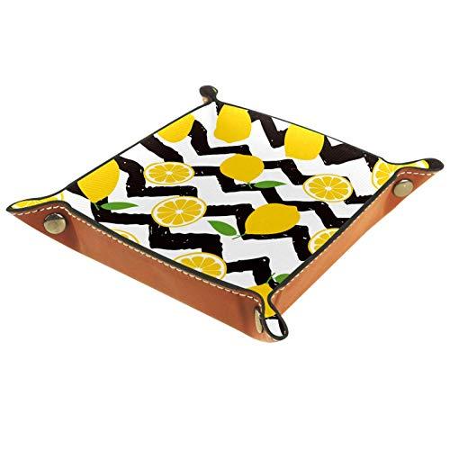 AITAI Bandeja de valet de piel vegana para mesita de noche, organizador de escritorio, plato de almacenamiento Catchall amarillo limón, hojas verdes, negro zigzag
