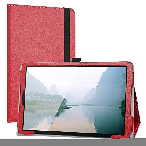 Labanem Funda para Lenovo Tab M10 HD, Slim Fit Carcasa de Cuero Sintético con Función de Soporte Folio Case para 10.1' Lenovo Tab M10 HD (2nd Gen) TB-X306X Tablet - Rojo