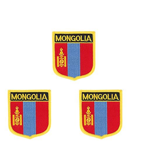 Patch zum Aufbügeln oder Aufnähen, Mongolei-Flagge, bestickt, Schild-Form, 3 Stück