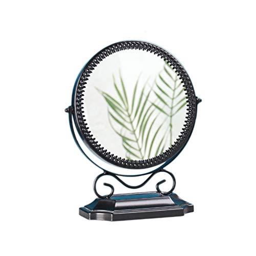 Petit Miroir décoratif, Fer forgé Miroir de bureau Retro Girl Chambre maquillage Mirror Café Flower Shop Double Miroir (Color : Black, Size : 18.5 * 24.5CM)