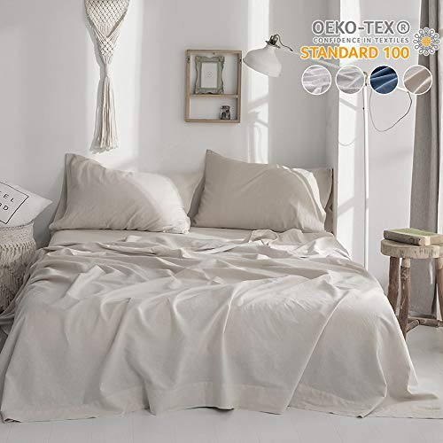 Simple&Opulence Belgian Linen Sheet Set Solid Color - 4 Pieces (1 Flat Sheet & 1 Fitted Sheet & 2 Pillowcases) Natural Flax Cotton Blend Soft Bedding Breathable Farmhouse - Linen, King Size