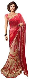 Clothfab Women's Georgette and Net Embroidery Work Saree with Blouse Piece, Red