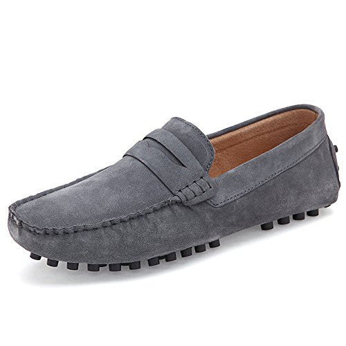 Ceyue Men's Loafers Leather Moccasins (46, grey)