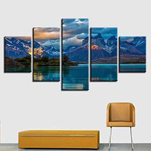 ERSHA Cuadro en Lienzo, Arte de Pared, decoración del hogar, 5 Piezas, Cartel de Marco de Lago de montaña para Sala de Estar, imágenes de Paisaje de impresión HD Modular