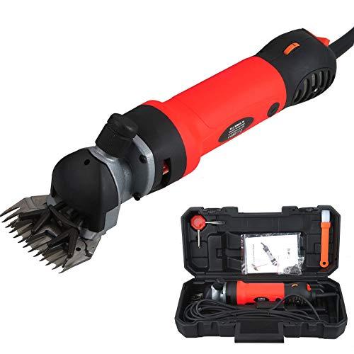 Vinteky Máquina Esquiladora de 690W Recortadora en Granja Trasquilador Eléctrica para Oveja Cabras, Máquina de Esquilar Eléctrica para Oveja Tijeras, 6 Velocidades Ajustables (Rojo)
