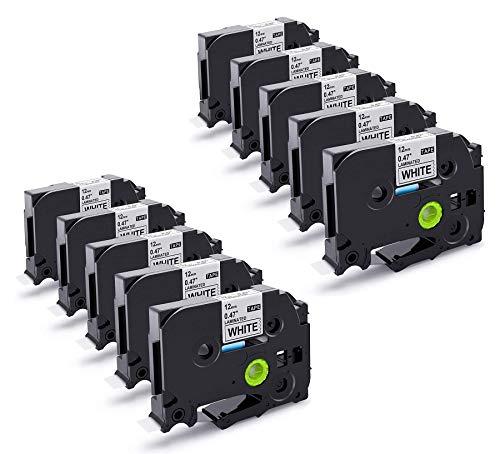 Suminey Nastro di ricambio compatibile per Brother P-touch, 12 mm, TZe-231 AZe Tape da 12 mm, 0,47 nero su bianco, per Brother P-touch 900 h100lb H105 1000 1010 Cube x 10