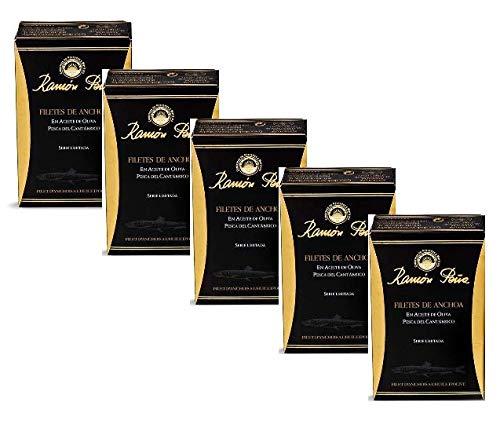Conservas de Pescados y Mariscos Ramòn Pena Filetes de Anchoa / Filetes de Anchoa en Cantàbrico en Aceite de Oliva Exclusivo Conservas de Pescado Artesanal - 5 x 85 Gram (Peso escurrido 5 x 50 Gram)