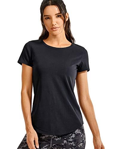 CRZ YOGA Damen Sport Fitness Shirt Sportbekleidung - Laufshirt Kurzarm,Performance T-Shirt für Damen Schwarz 42