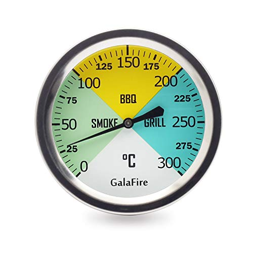 GALAFIRE Thermometer für Grill, 68 mm, extra lang, 73 mm Stiel, Holzkohlegrill, Pit Smoker, Temperaturanzeige