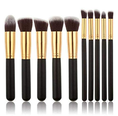 Scpink Make-up-Pinsel, 10 Stück Professional Make-up Pinsel Set Kosmetik Pinsel Set Lidschatten Make-up Pinsel Set, - Gold + Schwarz - Größe: 1 x 1 x 1 cm ; 99,8 g