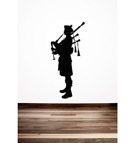 YANCONG Wandtattoo Schlafzimmer Dudelsackpfeifer Schottische Wandaufkleber Schottland Englisch Stil Home Room Coole Dekor PVC Kunst Wandbilder Aufkleber 56X126 cm