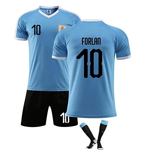Forlan 10 Uruguay Fußballtrikot Nr. 9 Supporter Trikot, elastisches Fußballtrikot-T-Shirt aus Polyester und Shorts Team Trainingsuniformen für alle Passen Sie einen-No.10-2XL