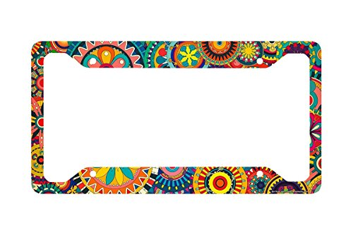 Airstrike Retro Flower License Plate Frame, Floral Pattern Car Tag Frame, Gears License Plate Holder, Cute License Plate Frame-30-716