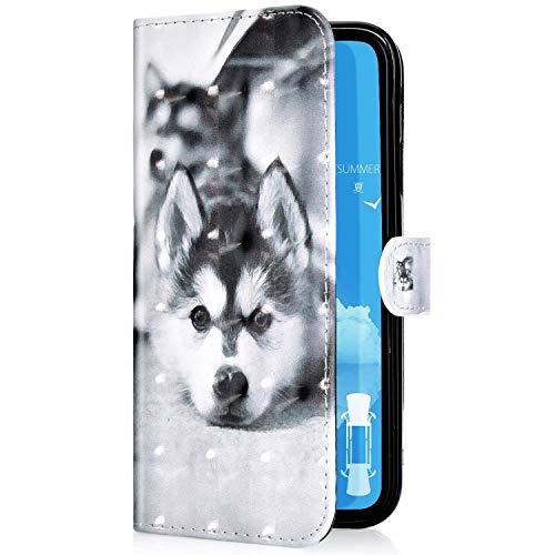 Uposao Kompatibel mit Samsung Galaxy A20e Handyhülle Leder Tasche Bling Glitzer Glitter Glänzend Muster Hülle Flip Wallet Case Brieftasche Klapphülle Ständer Kartenfach,Haustier