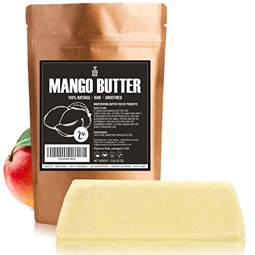 Best Raw, UNREFINED MANGO BUTTER, Amazing Moisturizer, Use Alone or in DIY Body Butters, Soaps, Lotions and lip balm (2LB) 32oz