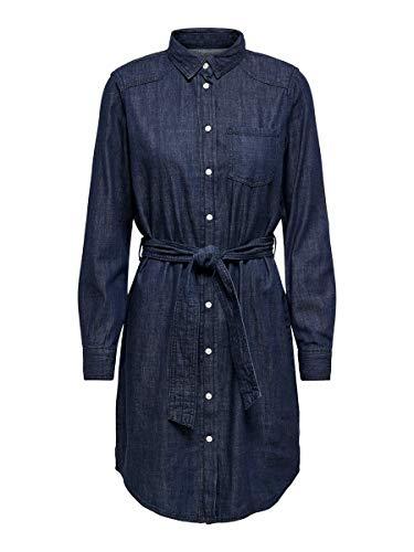 JACQUELINE de YONG Female Jeanskleid Langärmeliges 34Dark Blue Denim