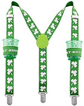 St Patricks Shot Glass Suspenders - Lucky Shot Glasses Suspenders with Clips - Many Colors to Choose From