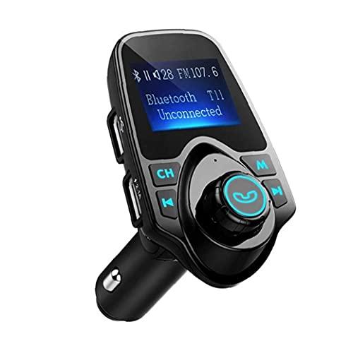 YepYes Transmisor FM Bluetooth Cargador inalámbrico para Coche de f con Llamando a Mano Libre de la Pantalla LCD del Reproductor de música del Cargador del Coche Negro
