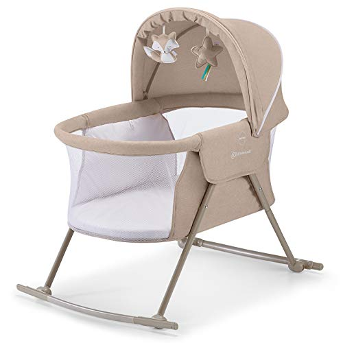 Kinderkraft Baby Crib 3 in 1 LOVI, Cradle, Travel Cot, Rocker, Easy Folding and Unfolding, Adjustable Canopy, with Accessories, Mattress Cover, Included Toys, Transport Bag, for Newborn, 0-9 kg, Beige
