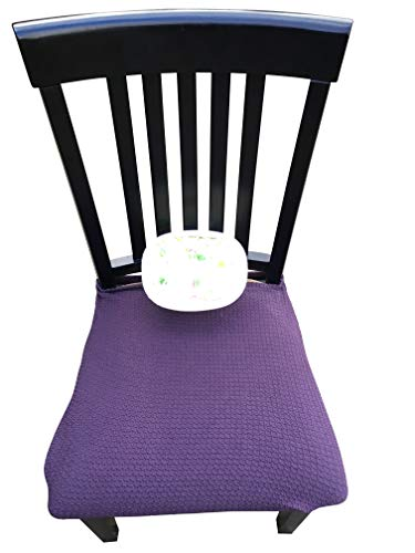RELIABEST Waterproof Dining Chair Cover Protector - Pack 2 - Perfect for Pets, Kids, Elderly, Restaurants, Party - Machine Washable, Snugly Fit, Removable, Clean The Mess Easily (Purple Brown)