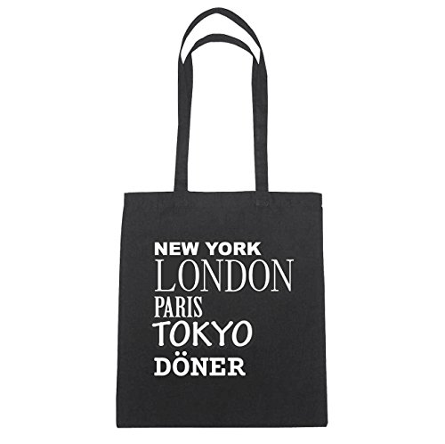 JOllify DÖNER Baumwolltasche Tasche Beutel B6112black - Farbe: schwarz: New York, London, Paris, Tokyo