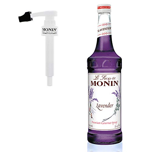 Monin - Lavender Syrup Box Set, Aromatic and Floral, Natural Flavors, Great for Cocktails, Lemonades, and Sodas, Vegan, Non-GMO, Gluten-Free, Includes BPA Free Pump and Box (750 Milliliters)