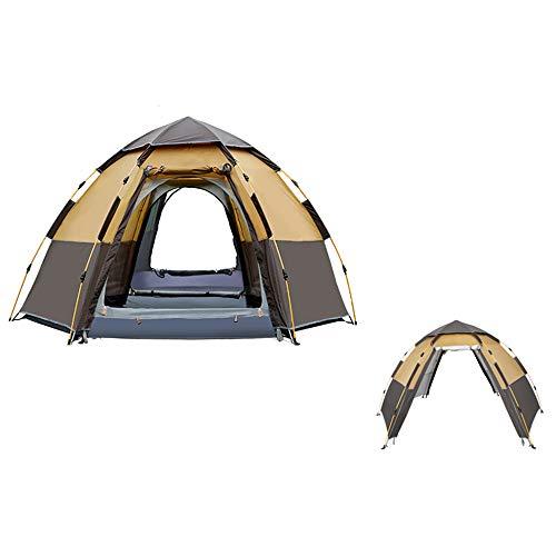 Camping Tent Waterdicht 5-8 Persoons Pop-Up Tenten -Automatische Dubbellaags Man Familietenten Waterdicht Voor Backpacken Picknick Wandelen 111.4 X 111.4X66 Inch,Brown