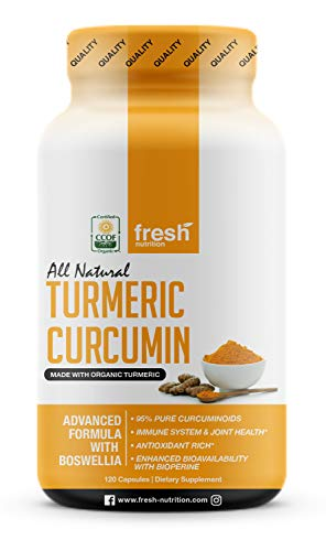 Organic Turmeric Curcumin with Added Boswellia & Bioperine for Potent Joint & Inflammation Support - Best Natural Joint Pain Relief - 120 Capsules - Organic - Non GMO - NO Soy/Gluten - Vegan Friendly