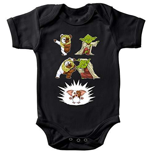 Body bébé Manches Courtes Noir Parodie Star Wars - Gremlins - Yoda, Un Ewok et Gizmo - Fusion !! YAHA !!(Body bébé de qualité supérieure de Taille 9 Mois - imprimé en France)