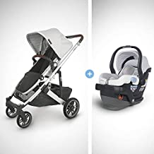 UPPAbaby Cruz V2 Stroller - Bryce (White Marl/Silver/Chestnut Leather) + Mesa Infant Car Seat - Bryce (White Marl)