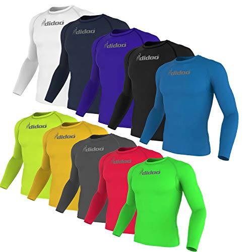Didoo Uomo Sleeve Completo Compressione sotto Pantaloni Corsa Aderenti Allenamento Fitness Lungo Maglie per Abbigliamento Sportivo - Blu Navy, Medium