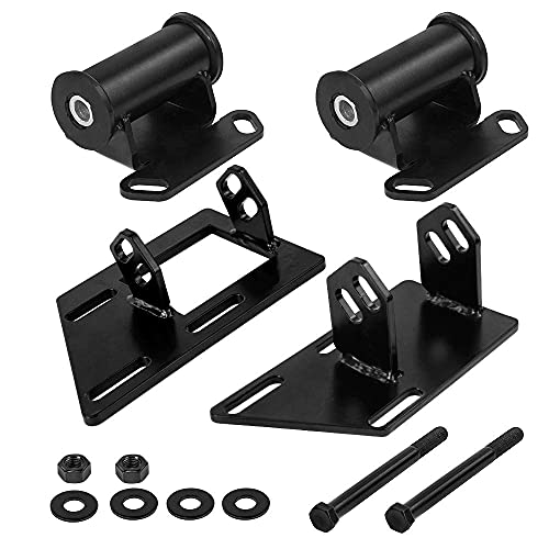 PQY Iron Conversion Motor Mounts+Frame Mount Adapter Plate for 1983-2005 Chevy GMC Blazer Jimmy Sonoma S10 S15 V8 SBC 350