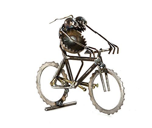 Sugarpost Scrap Metal Gnome Be Gone Mini Mountain Bike Rider Indoor Outdoor Metal Art Sculpture