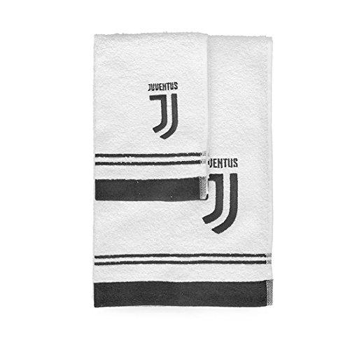 SQUADRE F.C. Juventus Set 1+1 Asciugamano Medio+ospite Ufficiale in Spugna di Cotone