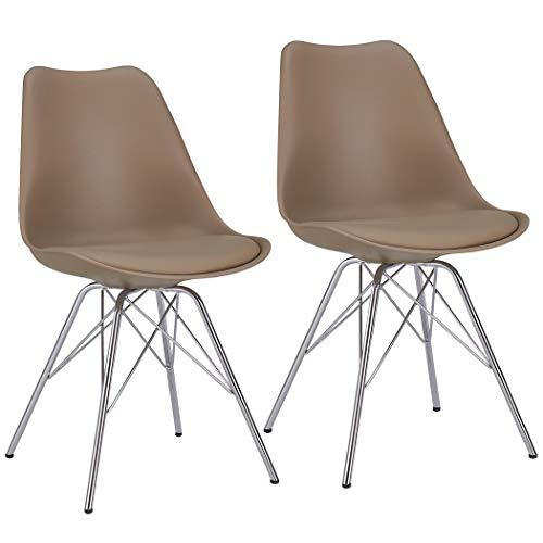 Duhome Esszimmerstuhl 2er Set Küchenstuhl Kunststoff mit Sitzkissen Stuhl Vintage Design Retro Farbauswahl 518J, Farbe:Cappuccino, Material:Kunstleder