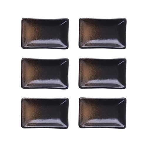 Cuencos Aperitivo Plato de salsa de estilo japonés - cuencos de inmersión Conjunto de 6 platos de porcelana Platos de inmersión Mini Cerámica Mini Ramekin para salsa de soja, salsa de tomate, condimen