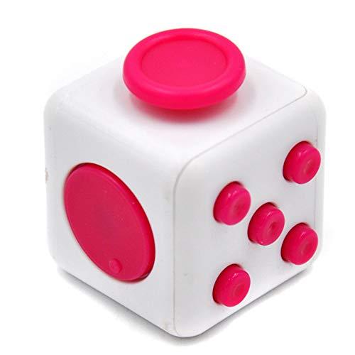 Fidget Stresswürfel mit 6 Seiten, Fidget Cube mit Hülle Schreibtisch-Spielzeug Klicker Joystick, Tasten zum Stressabbau, bei Angst, zum Konzentrieren ADHD Autismus für Erwachsene Kinder(Rosenrot)